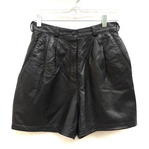 Vintage 90s Leather Pleated High Waisted Shorts